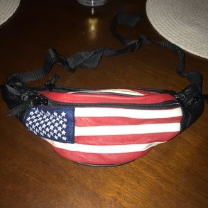 Handbags - Faux leather American flag fanny pack